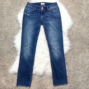 Hudson Collin Flap Raw Hem Distressed Skinny Jeans